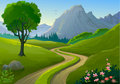Country side Rocky Hills and Lonely Pathway Stock Photo