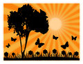 Country silhouettes vector image of a sunny landscape with Stock Photos