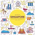 Country Singapore travel vacation guide of goods, place and feature. Infographic traditional ethnic flat, outline, thin