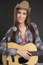 Country singer with guitar Royalty Free Stock Photos