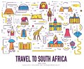 Country South Africa travel vacation of place and feature. Set of architecture, item, nature background concept