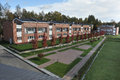 Country-storey residential block  brick houses Royalty Free Stock Photo