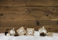 Country style christmas decoration in brown and white colors wit Royalty Free Stock Photo
