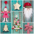 Country style: christmas decoration in classic colors green and Royalty Free Stock Photo