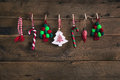 Country style christmas handmade decoration hanging on an old ru Royalty Free Stock Photo