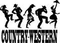 Country western dance silhouette banner of people dressed in style clothes dancing words on the bottom no white eps Stock Image
