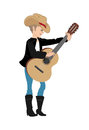 Country western girl cartoon illustration of a Stock Photos