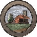 Countrylife and farming illustration in woodcut style of a farm done retro Stock Images