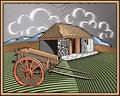 Countrylife and farming illustration in woodcut style of a farm done retro Royalty Free Stock Images