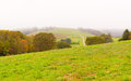 Countryside at foggy day. Royalty Free Stock Photo