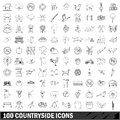 100 countryside icons set, outline style