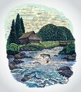 Countryside landscape in graphic style with river and jumping fish