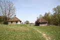 Countryside lanscape houses in the field ukraine Stock Photos