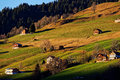 Countryside living in alpine foothills sunset scenery Royalty Free Stock Photo