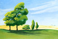 Countryside painting an acrylic of a few trees casting long shadows in a sunny afternoon along the edge of a farmer s field Stock Photo