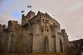 The counts gravensteen in ghent is the only surviving medieval fortress in flanders with a nearly intact defence system a special Royalty Free Stock Images
