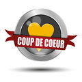 Coup de coeur button illustration of french web with love heart white background Royalty Free Stock Photos