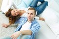 Couple above view the portrait of an attractive relaxing together Stock Photo