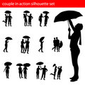 Couple in action silhouette set Stock Images