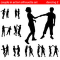 Couple in action silhouette set 2 Stock Image
