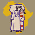 Couple africans in national costumes on background of african continent Royalty Free Stock Photography
