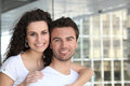 Couple all smiles near building Royalty Free Stock Photo