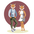 Couple anthropomorphic foxes
