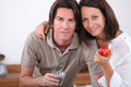 Couple with an apple Royalty Free Stock Photography