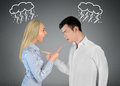 Couple argue and pointing eachother Royalty Free Stock Photo