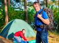 Couple arranged for the night at a campsite Royalty Free Stock Photography