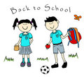 Couple of asian kids goind back to school Stock Image