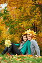 Couple at autumn outdoors Stock Photography
