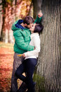 Couple in the autumn park Royalty Free Stock Image