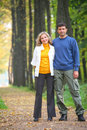 Couple in autumnal wood Stock Photo