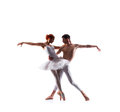 Couple of ballet dancers isolated on white Royalty Free Stock Photo
