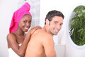 Couple in the bathroom young Royalty Free Stock Photo
