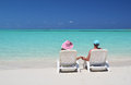 A couple on the beach of exuma bahamas Stock Photography