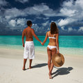 Couple on a beach at maldives tropical Stock Photography