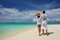 Couple on a beach at maldives tropical Royalty Free Stock Photography