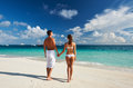 Couple on a beach at maldives tropical Stock Photo