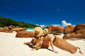 Couple on a beach at seychelles tropical Stock Photo
