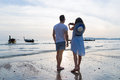 Couple Beach Summer Vacation, Man Woman Take Photo Sunset Young Guy Girl Back Rear View Royalty Free Stock Photo
