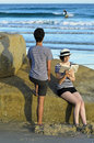 Couple at beach, Tasmania, Australia Royalty Free Stock Photo