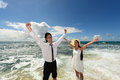 A couple on the beautiful beach of okinawa Stock Photography