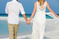 Couple beautiful beach wedding holding hands Stock Photography