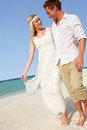 Couple beautiful beach wedding smiling Stock Images