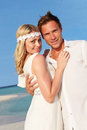 Couple beautiful beach wedding smiling Royalty Free Stock Images