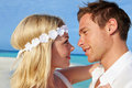 Couple beautiful beach wedding smiling Royalty Free Stock Image