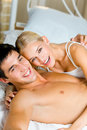 Couple in bedroom Royalty Free Stock Photos