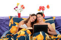 Couple, bedroom laptop book Royalty Free Stock Photo